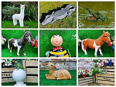 Animal Garden Sculptures Resin Ornament Lawn Patio Wildlife PIG Crocodile Snails