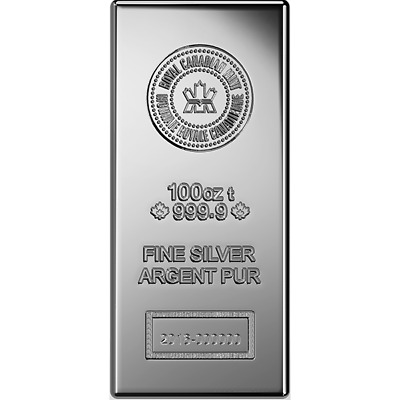 Royal Canadian Mint 100 oz Silver Bar | New Mint Design