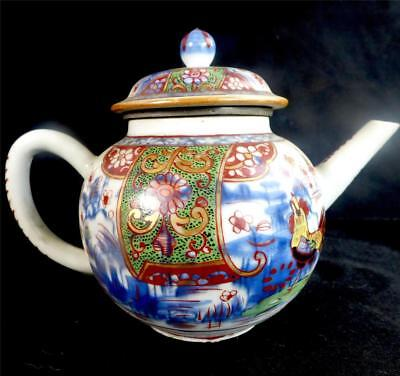 Antique Chinese Qianlong Qing Teapot Clobbered Rooster Bont