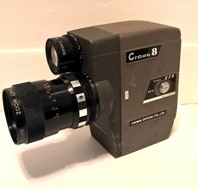 CROWN 8 MODEL E3B 8mm MOVIE CAMERA made in JAPAN case FOR PARTS OR NOT WORKING