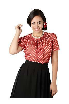 Collectif Vintage Lucille Polka Chiffon Blouse