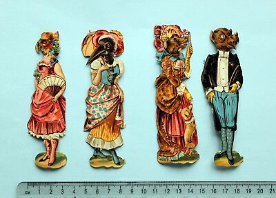 4 X Victorian Die Cut Embossed Scraps Anthropomorphic Animals  12 Cm Tall
