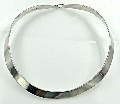 Necklaces & Pendants Periods & Styles Mid-cemtury Mcm 925 Sterling Silver-hand Hammered Choker-collar Necklace Terrific Value