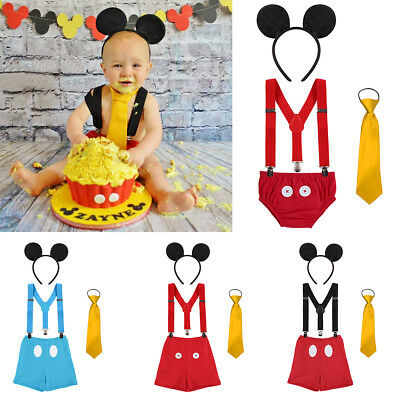 Mickey Mouse 1st Birthday Cake Smash Outfits 4PCS Baby Boy Photo Prop Costume