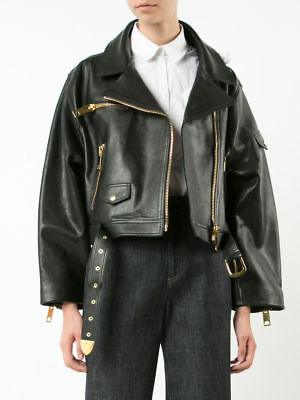 Women Leather Cropped Jacket Natural Lambskin Bomber Style Blue