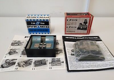 2 X Pyramid 8mm 16m & Stitz 8 mm 16 mm 3 way Splicer super 8 Boxed with Manuals