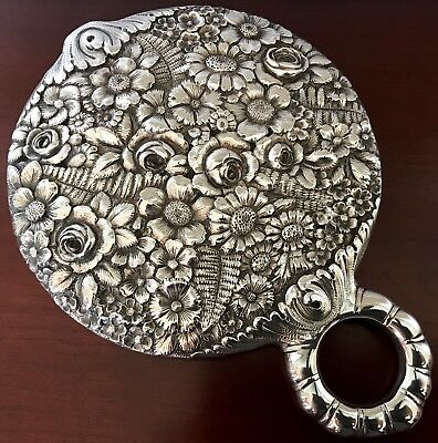 TIFFANY & CO REPOUSSE Sterling Silver HAND MIRROR ~ VICTORIAN NOUVEAU ANTIQUE