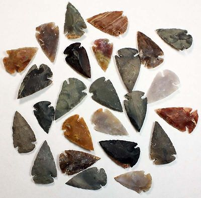 Collection Of 25 Stone Arrowhead Points... High Quality