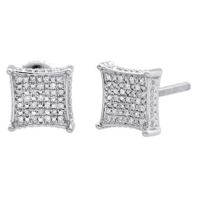 Diamond 3D Kite Shape 4-Prong Earrings Sterling Silver 8.25mm Pave Studs 0.15 CT
