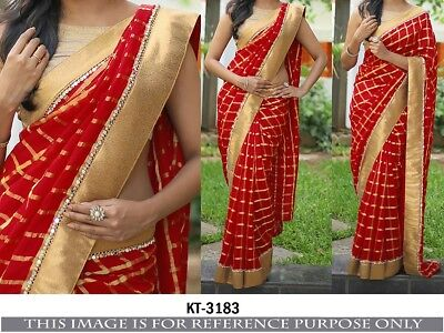 Latest Fashion Designer Mix Red Golden Style Bollywood Party Wear Fashion Saree