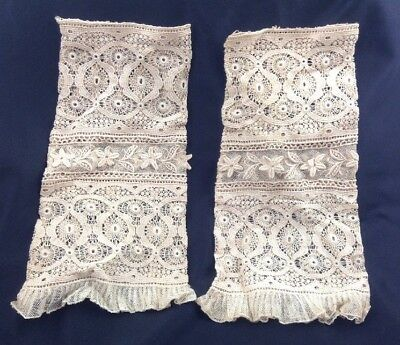 Pair of Antique Victorian Art Deco IVORY LACE SLEEVES Wedding Handmade Lovely!