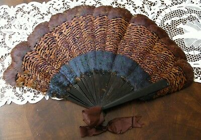 Antique Victorian Exotic Bird Large Feather Fan