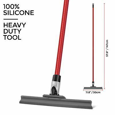 Home Floor Squeegee 30cm Wide Silicone Blade With Long Telescopic Handle 150cm