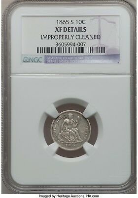 1865-S Seated Liberty Dime  NGC  XF details