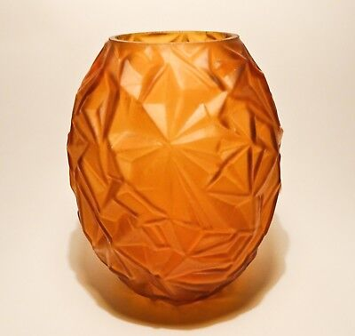 Art Deco Cubist Glass Vase Amber