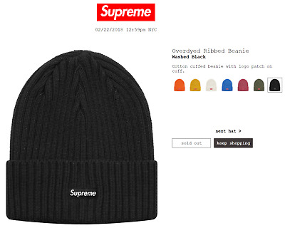 d6d05bce2b5 SUPREME OVERDYED RIBBED Beanie - Black- SS18 Deadstock - £89.64 ...