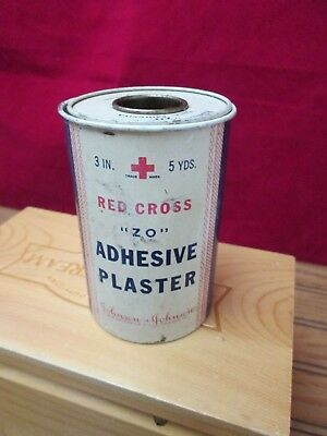 Vintage Johnson & Johnson Tape Adhesive Plaster Tin Red Cross Medical First Aid