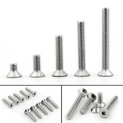 M6 304 Stainless Steel Allen Hex Socket Countersunk Flat Head Screw Bolts UE