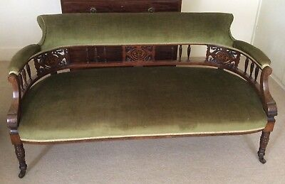 Rosewood Antique Sofa Spindle-Back Inlaid Panels with Turned Legs & Castors