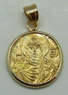 22K Solid Gold Coin Pendant Mother of Christ Vlachernae Byzantine style Icon