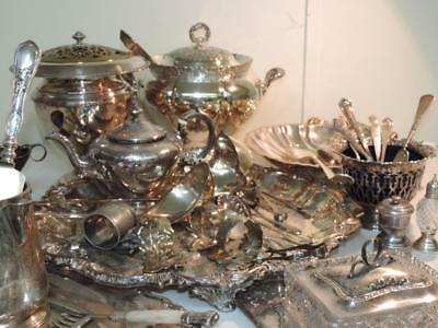 Vintage ESTATE Silver Plated Sterling LOT 45 PCS Tureen Trays Ladles Teapot NoRe