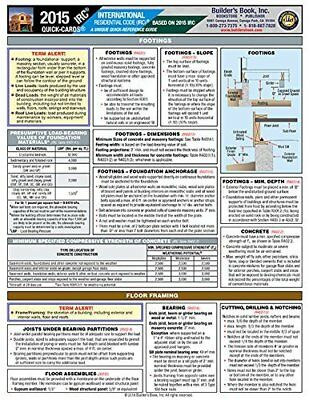 2015 International Residential Code® IRC Quick-Card Pamphlet