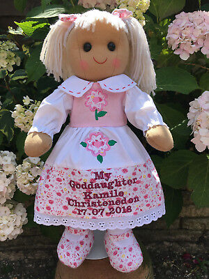 Personalised Rag Doll Goddaughter Granddaughter Daughter Christening Niece gift