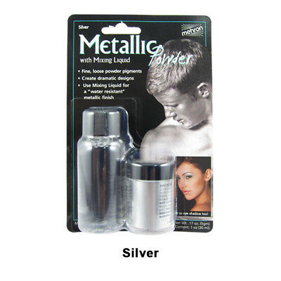 Silver Mehron Metallic Powder with Mixing Liquid Theatrical Stage Makeup FX