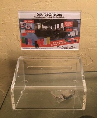 SourceOne Small Donation Box w Lock 5-Inch Wide Acrylic Storage Container Clear