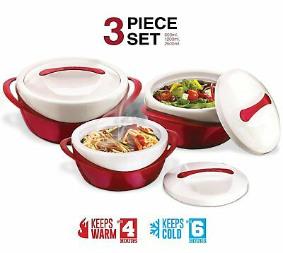Casserole Dish Insulated Soup and Salad Serving Bowl Set With Lids 3 Pc Set