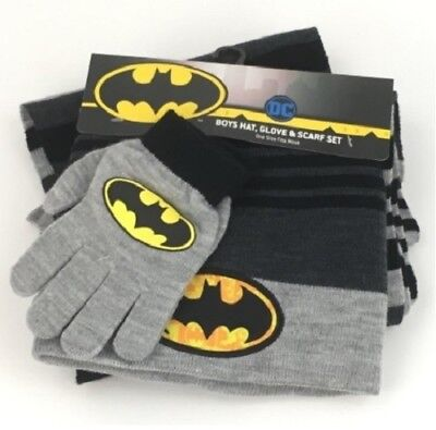 BATMAN 3 pc. Boys Knit Winter Beanie Hat, Gloves & Scarf Set (Ages 4-12) NWT