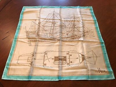 Vera Neumann Vintage Square Scarf The Mayflower Pilgrims Pilgrim RARE Ship Art