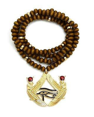 "Egypt Eye of Heru Pendant 6mm 30"" Wooden Bead Hip Hop Necklace RC2854G-WBN"