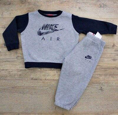Nike Air Baby Boys Outfit Tracksuit Navy Blue Grey Jumper Joggers Age 18-24 M