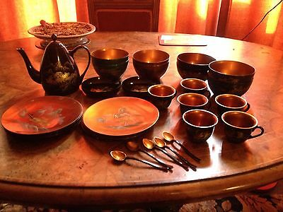 Beautiful 19th Century Chinese Lacquered Tea Service - 34 Pieces. VGC