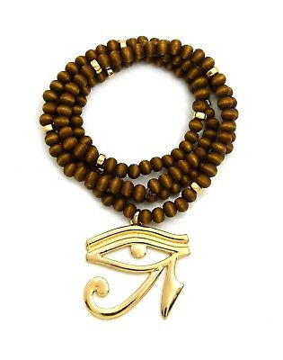 "Egypt God Eye of Horus Pendant 6mm 30"" Wooden Bead Hip Hop Necklace RC2861G-WBN"