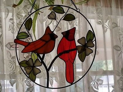 Beautiful Handcrafted Glass Stained Cardinal Couple Round Sun Catcher
