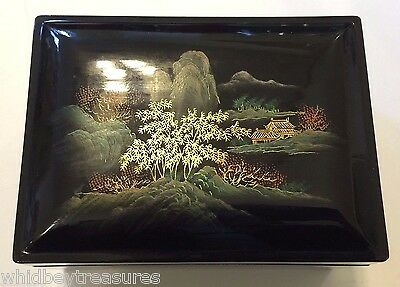 Vintage 5 Chinese Nesting Boxes Black Lacquer Hand Painted Lovely