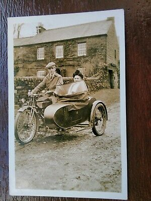 Couple In Motorcycle And Sidecar Social History Postcard