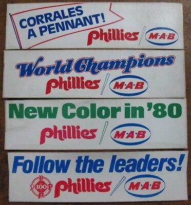 new old stock MAB 1980 vintage Phillies bumper stickers, unused lot of 4