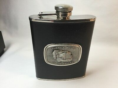 Truckers Flask 6oz Leather Bound