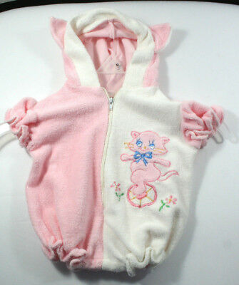 Vintage Infant Terry Cloth Romper Pink & White Kitten on Unicycle Short Sleeve