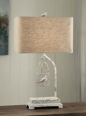French Country Antique White Song Bird In Cage Table Lamp Shabby Cottage Chic