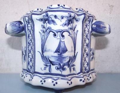 Vintage Delft Ware Dutch Pottery Container Bulb Holder 2 Handles Unknown Maker