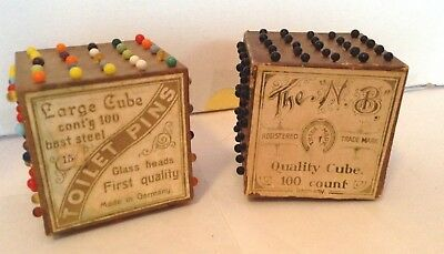 Pair Antique Victorian Toilet Pins Cubes Sewing Aix-la-Chapelle Germany Keuss