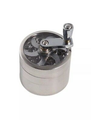 "Herb Grinder Crusher for Tobacco 4 Piece 2"" Metal Hand Muller Spice Silver"