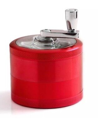 "Herb Grinder Crusher for Tobacco 4 Piece 2"" Metal Hand Muller Spice Red"