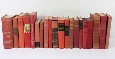 Lot of 20 Vintage Red Hardcover Various Shelf Display Books