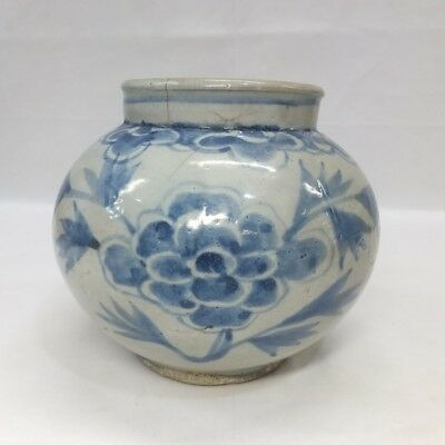 G052: Real old Korean Joseon-Dynasty blue-and-white porcelain appropriate vase