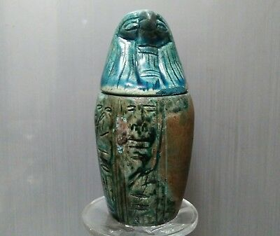 ANCIENT ANTIQUE EGYPTIAN  faience  Qebehsenuef Canopic Jar (300-1500 BC)